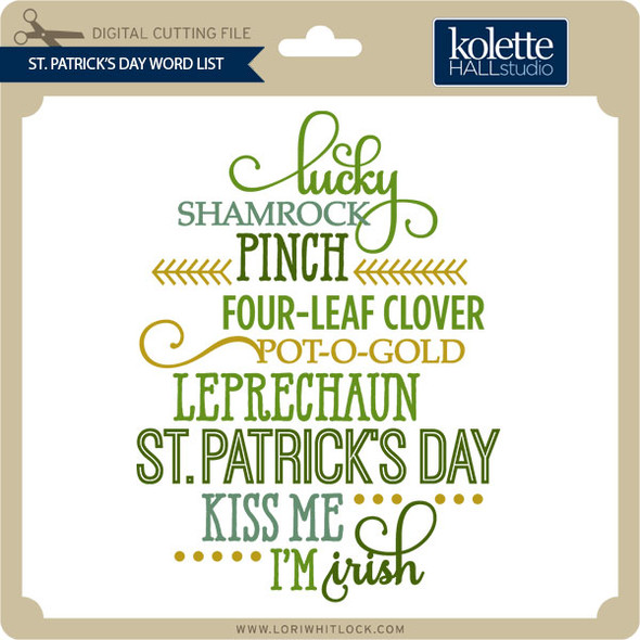 St. Patrick's Day Word List