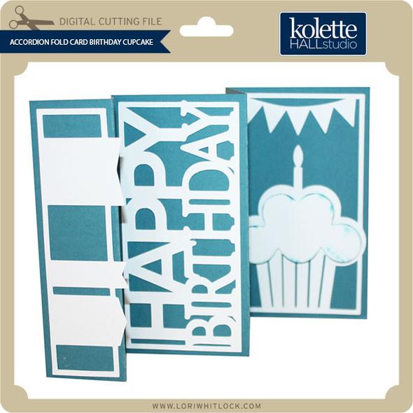Accordion Fold Card Birthday Cupcake
