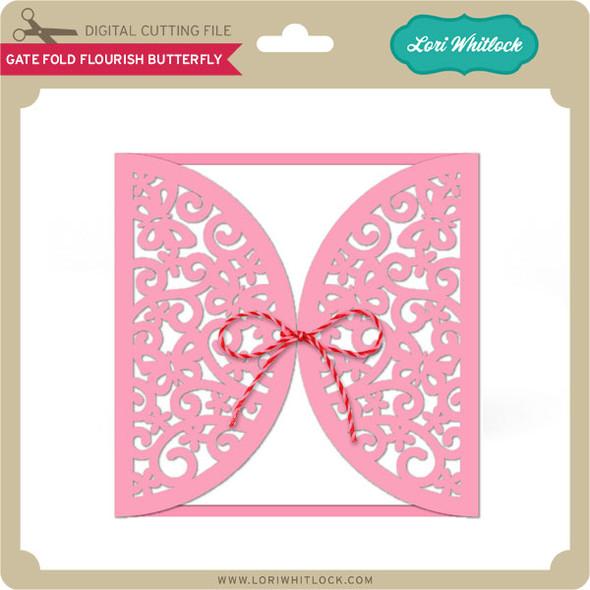 Gate Fold Card Flourish Butterfly