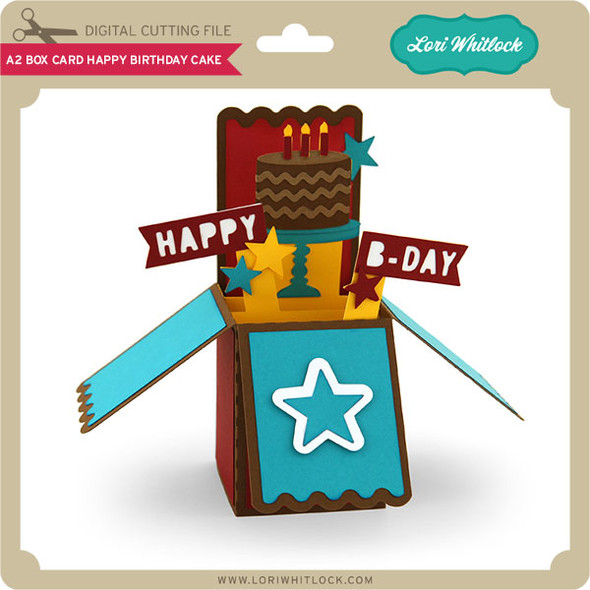A2 Box Card Happy Birthday Cake