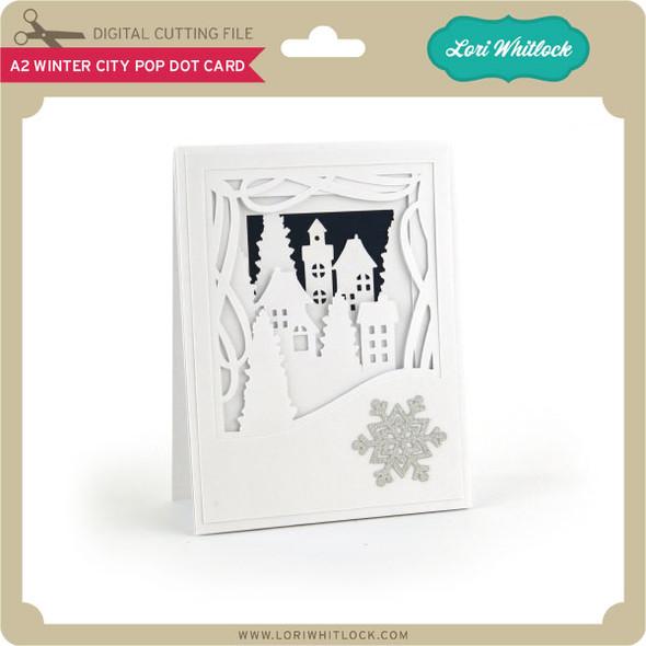 A2 Winter City Pop Dot Card
