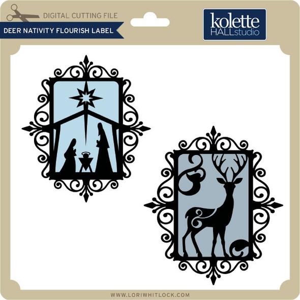 Deer Nativity Flourish Label
