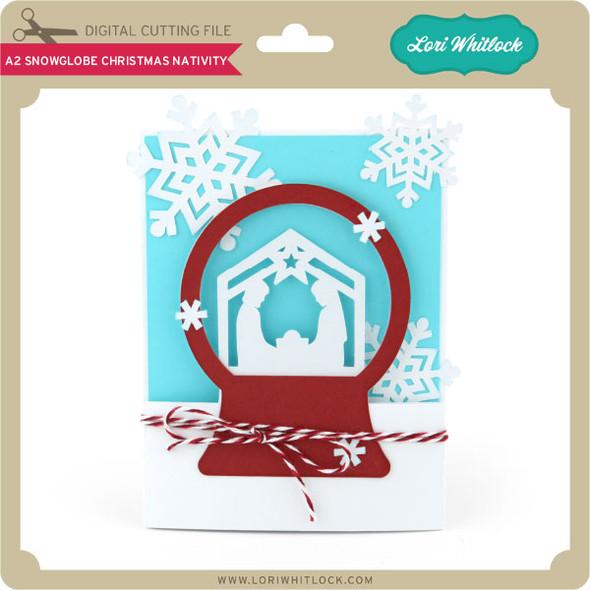 A2 Snowglobe Card Christmas Nativity