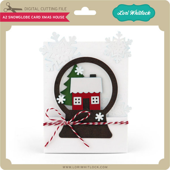 A2 Snowglobe Card Xmas House