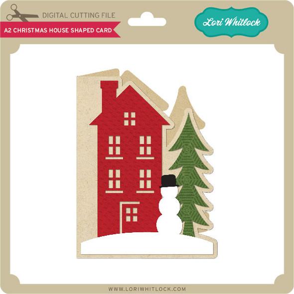 A2 Christmas House Shaped Card