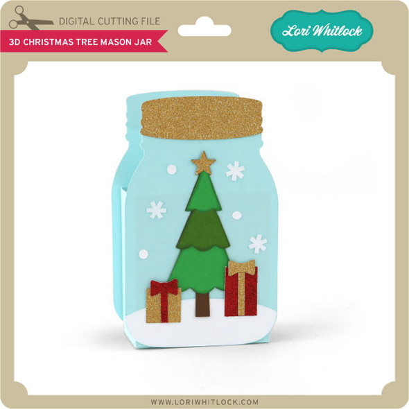 3D Christmas Tree Mason Jar