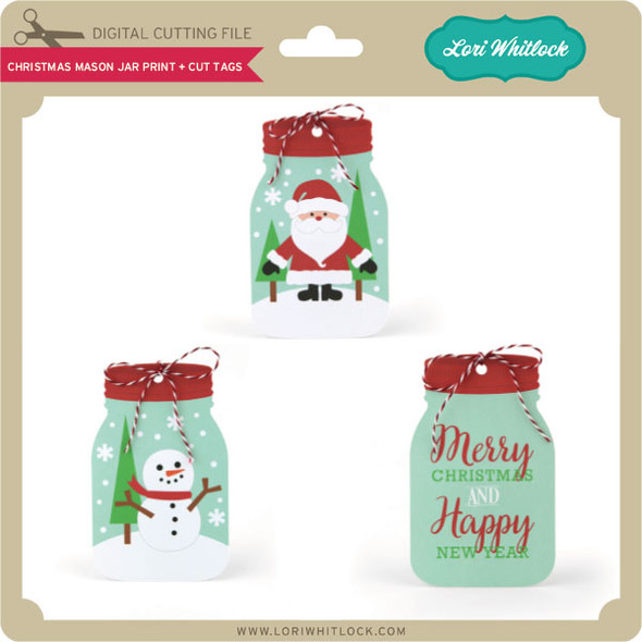 Christmas Mason Jar Print and Cut Tags