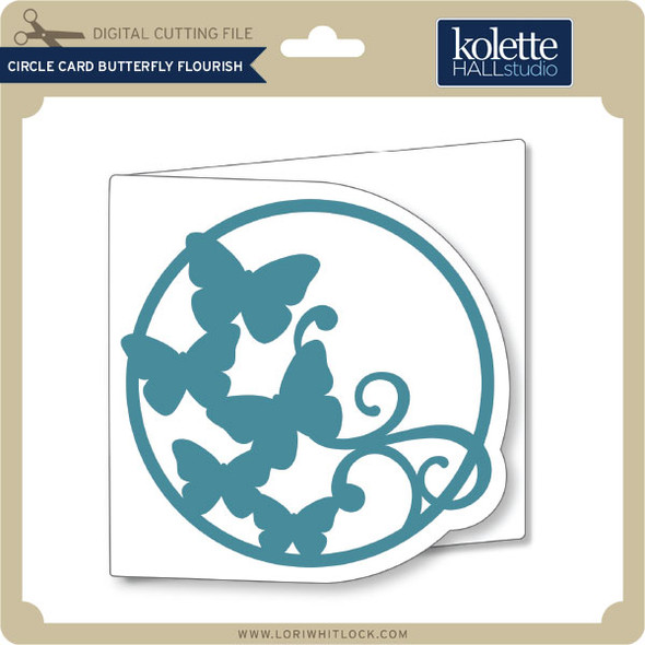 Circle Card Butterfly Flourish
