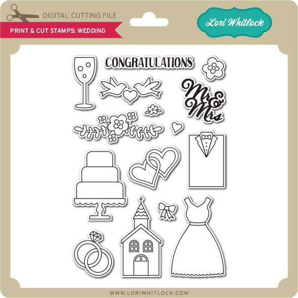 Print & Cut Stamps Wedding
