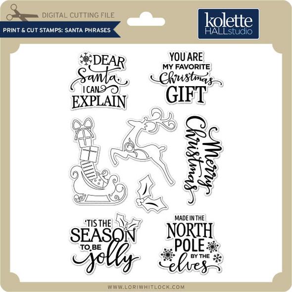 Print & Cut Stamps Santa Phrases