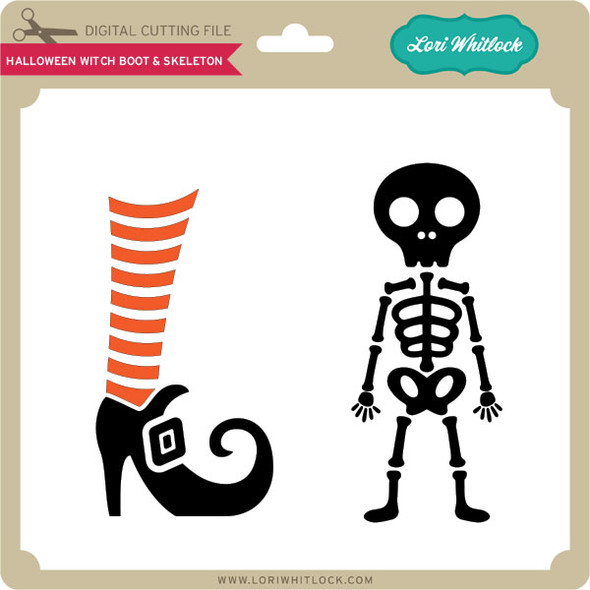 Halloween Witch Boot & Skeleton
