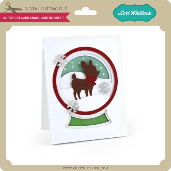 A2 Pop Dot Card Snowglobe Reindeer