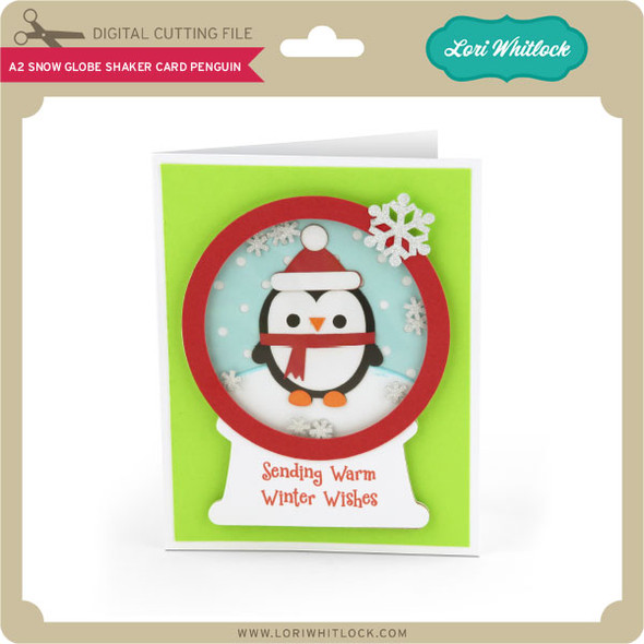 A2 Snow Globe Shaker Card Penguin