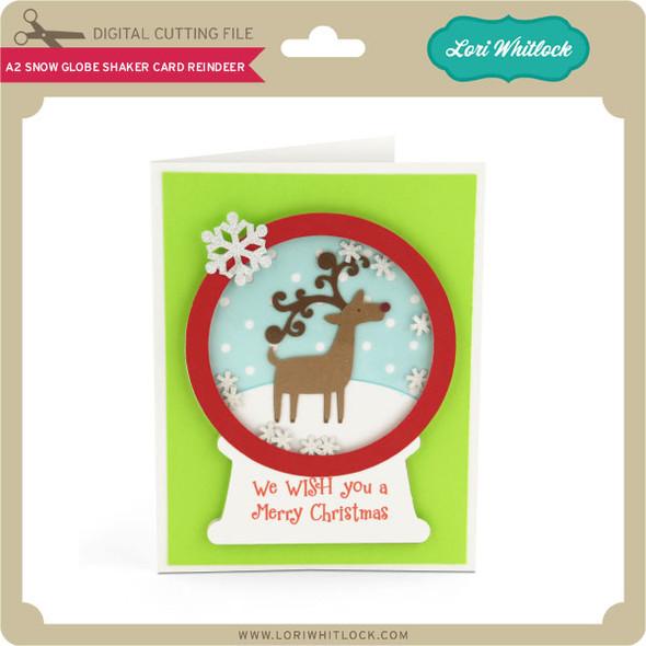 A2 Snow Globe Shaker Card Reindeer