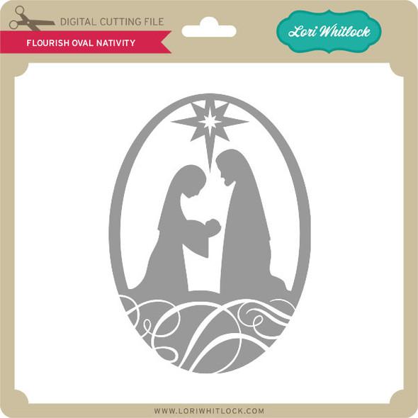 Flourish Oval Nativity