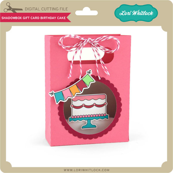Shadowbox Gift Card Bag Birthday Cake