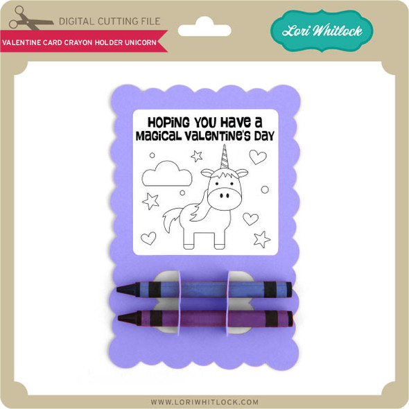 Valentine Card Crayon Holder Unicorn