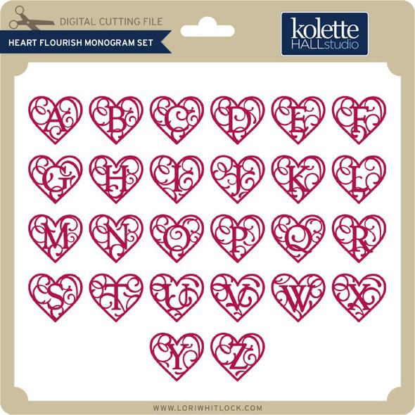 Heart Flourish Monogram Set