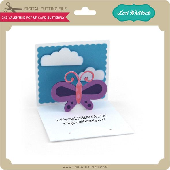 3x3 Valentine Pop Up Card Butterfly