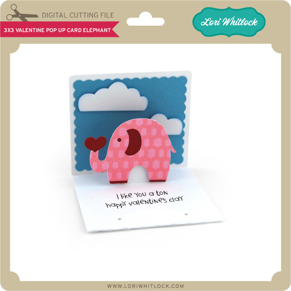 3x3 Valentine Pop Up Card Elephant