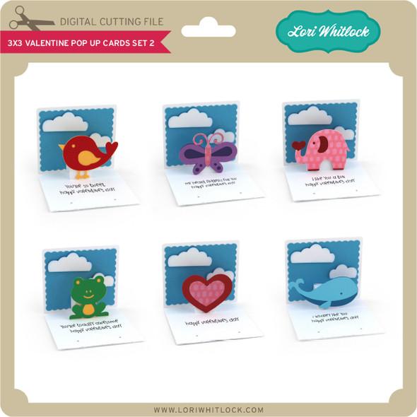 3x3 Valentine Pop Up Cards Set 2