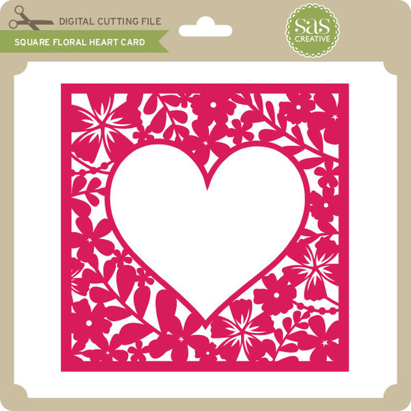 Square Floral Heart Card