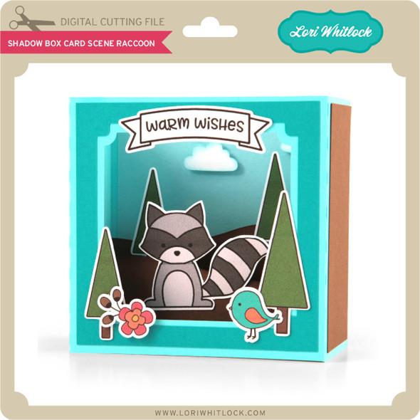 Shadow Box Card Scene Raccoon