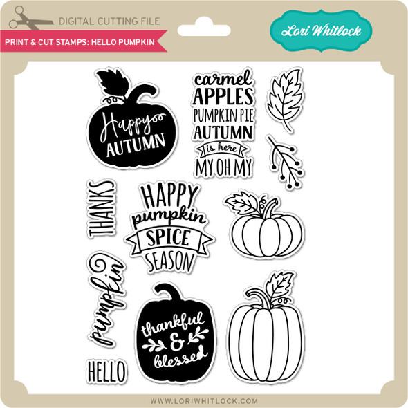 Print & Cut Stamps Hello Pumpkin