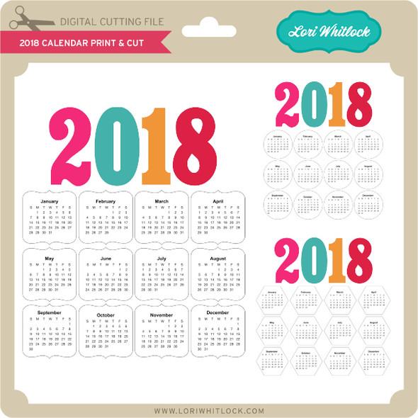 2018 Calendar Print & Cut