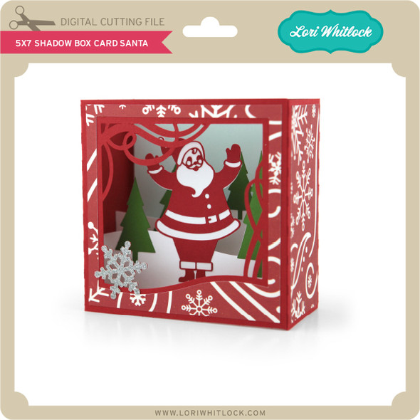 5X7 Shadow Box Card Santa