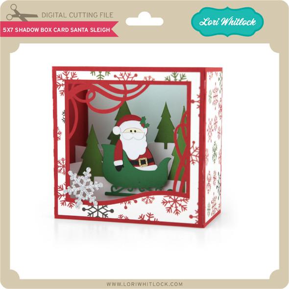 5X7 Shadow Box Card Santa Sleigh