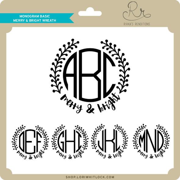 Monogram Basic Merry & Bright Wreath