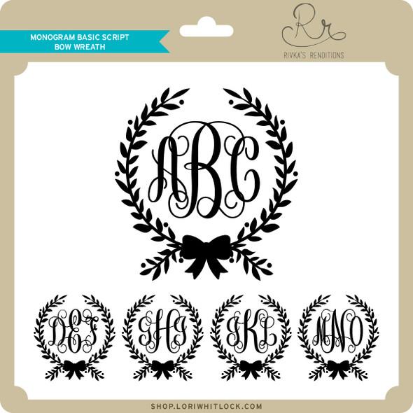 Monogram Basic Script Bow Wreath