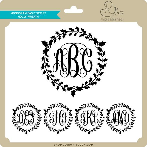 Monogram Basic Script Holly Wreath