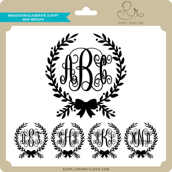 Monogram Elaborate Script Bow Wreath