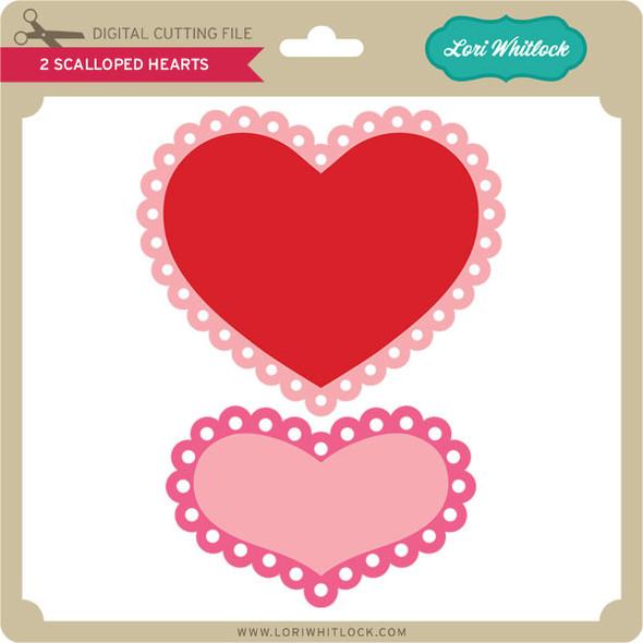2 Scalloped Hearts