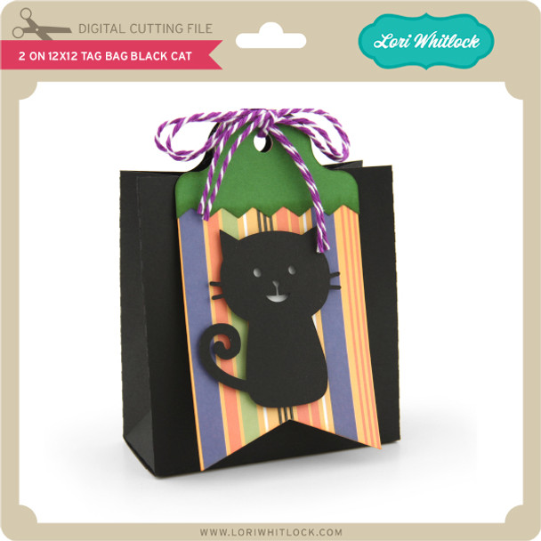 2 on 12x12 Tag Bag Black Cat