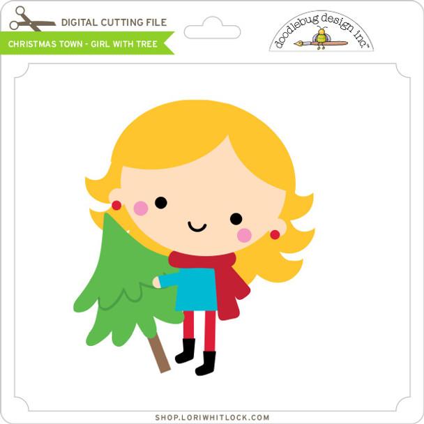 Christmas Town - Girl with Tree