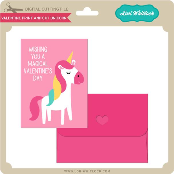 Valentine Print and Cut Unicorn