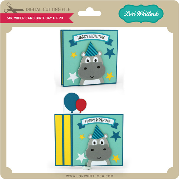 6x6 Wiper Card Birthday Hippo