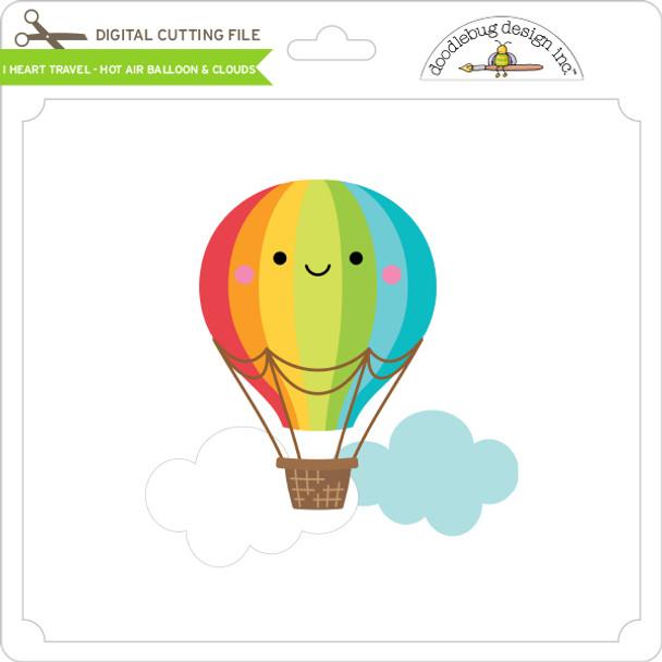 I Heart Travel - Hot Air Balloon & Clouds
