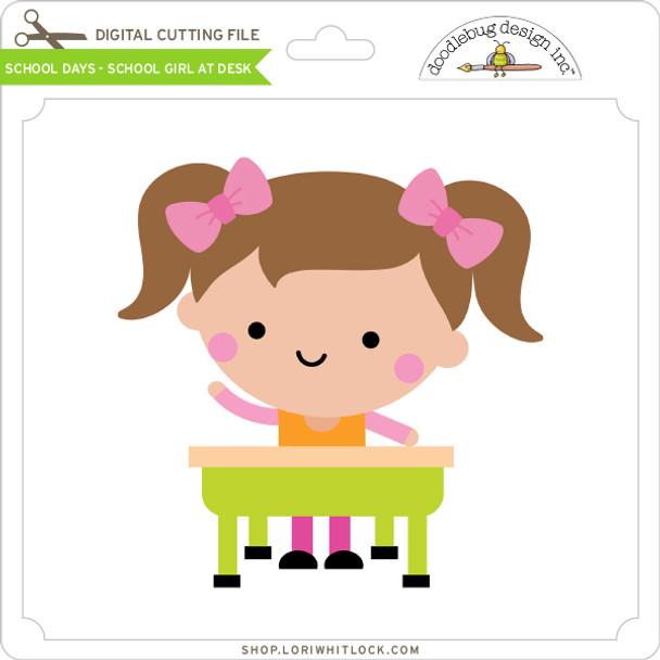 School Days - School Girl at Desk