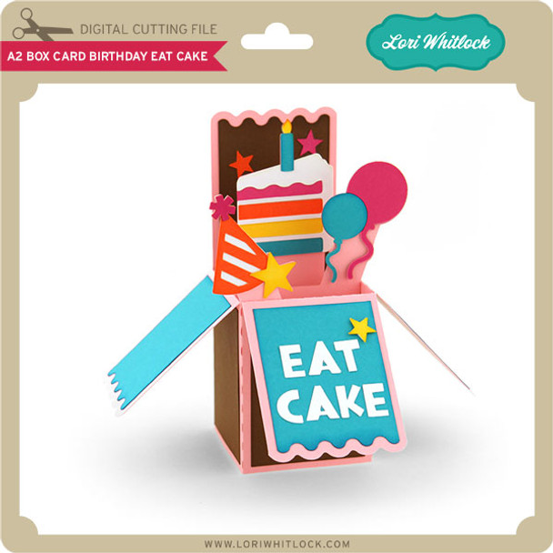 A2 Box Card Birthday Eat Cake