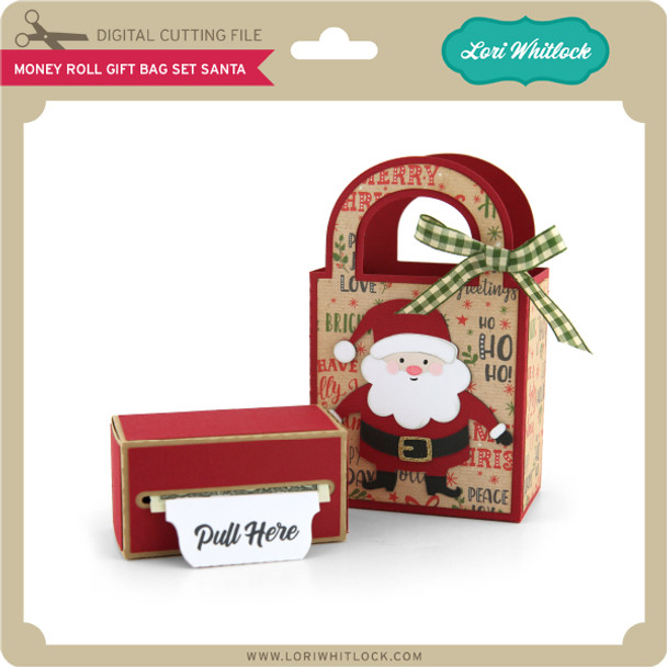 Money Roll Gift Bag Set Santa
