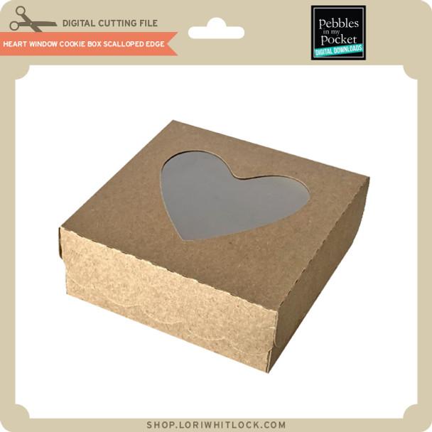 Heart Window Cookie Box Scalloped Edge