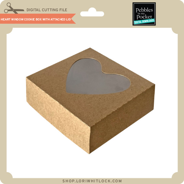 Heart Window Cookie Box with Attached Lid