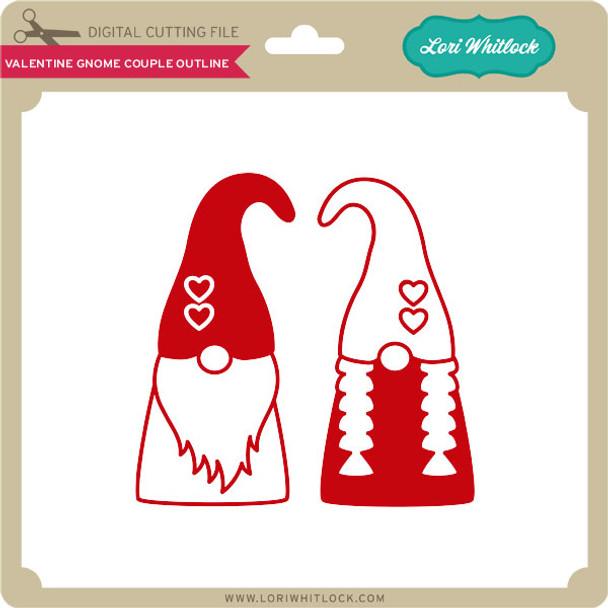Valentine Gnome Couple Outline