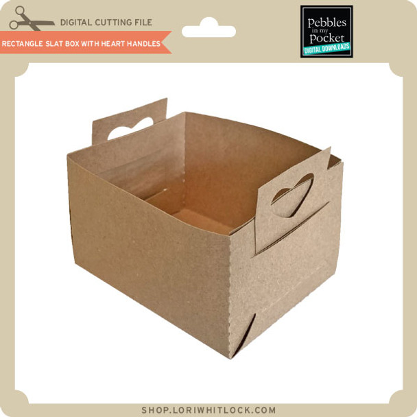 Rectangle Slat Box With Heart Handles