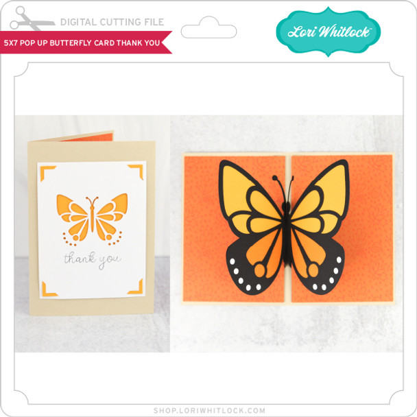 5x7 Pop Up Butterfly Card Thank You