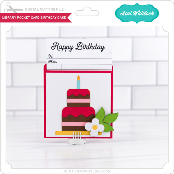 LIbrary Pocket Card Birthday Cake